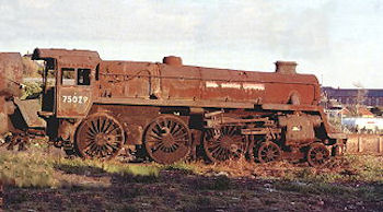 BR Standard number 75029 showing the effects after many years of the salt-laden environment of the Barry site