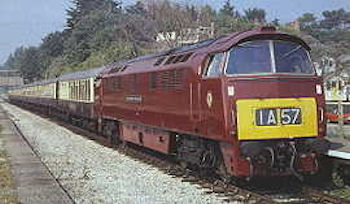 'Western' class locomotive in the popular maroon livery