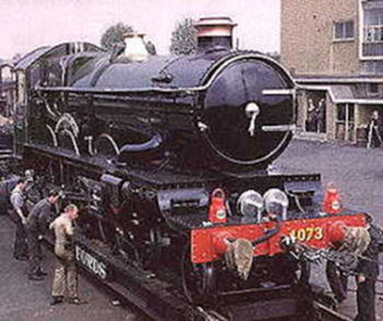 'Castle' class no. 4073 Caerphilly Castle   en route to the Science Museum in 1961